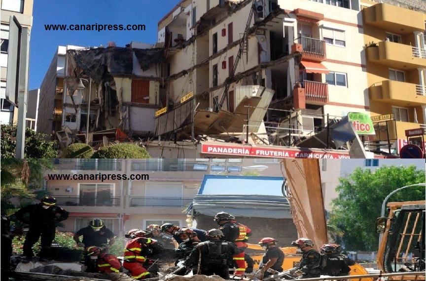 صورة فاجعة انهيار العمارة السكنية بتنريفي وتأكيدالسلطات الإسبانية يوم السبت 16 أبريل 2016 وفاة مواطنة مغربية