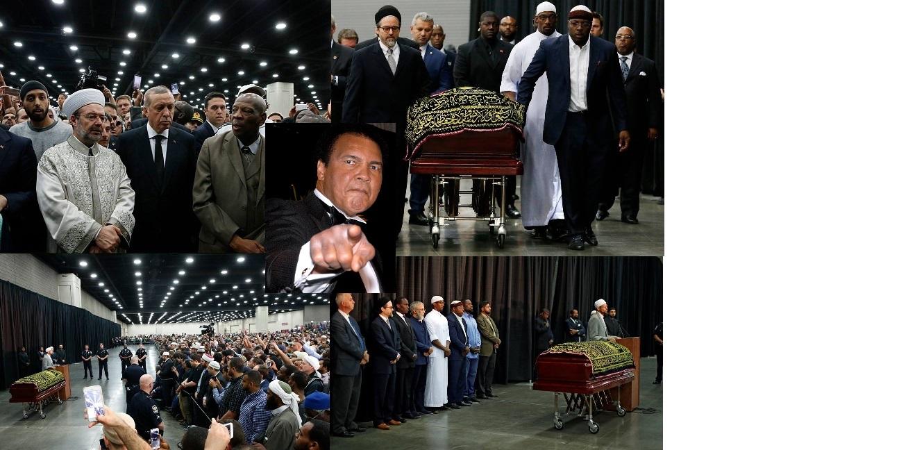 """صورة آلاف الأشخاص ضمنهم الرئيس التركي""""رجب طيب أردوغان"""" يؤدون صلاة الجنازة على جثمان الراحل محمد علي كلا"""