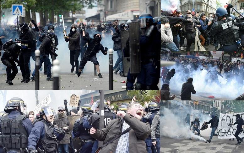 صورة مواجهات عنيفة تتخلل المظاهرات ضد قانون العمل في باريس