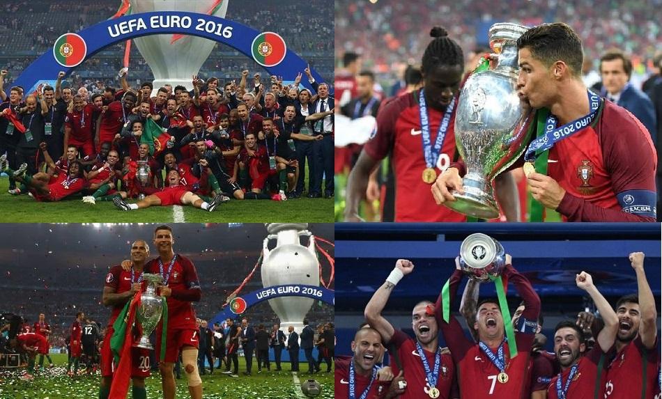 صورة تتويج منتخب البرتغال لأول مرة بكأس الأمم الأوروبية بعد هزم المنتخب الفرنسي بهدف لصفر