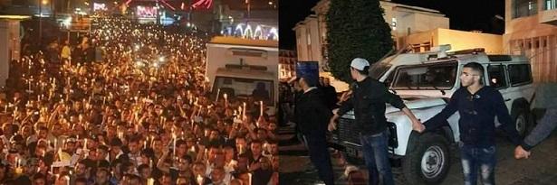 صورة مسيرة الشموع بالحسيمة مساء الجمعة 04-11-2016 + فيديو