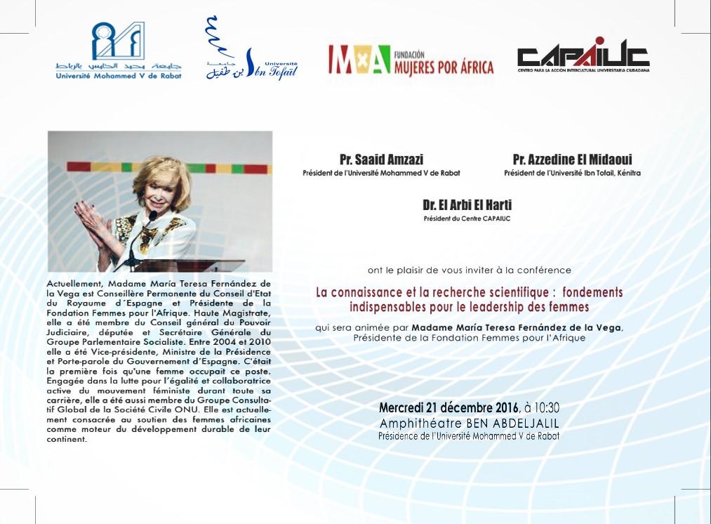 صورة نائبة رئيس الحكومة الإسبانية  تتأمل البحث العلمي والقيادة للمرأة الإفريقية  بجامعة محمد الخامس بالرباط